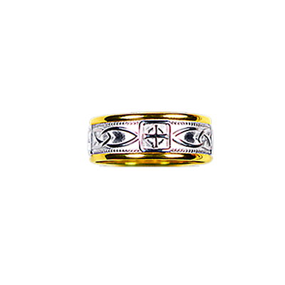 Celtic Ring - Ladies Yellow Gold Trim with White Gold Celtic Knot and Celtic Cross Ring