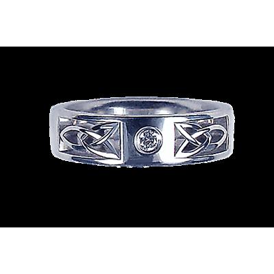 Irish Wedding Ring - Men's White Gold with 0.05ct Diamond Round Celtic Knot Ring