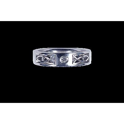Irish Wedding Ring - Ladies White Gold with 0.03ct Diamond Round Celtic Knot Ring