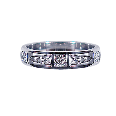 Irish Wedding Ring - Men's White Gold with 0.15ct Diamond Squares Celtic Knot Ring