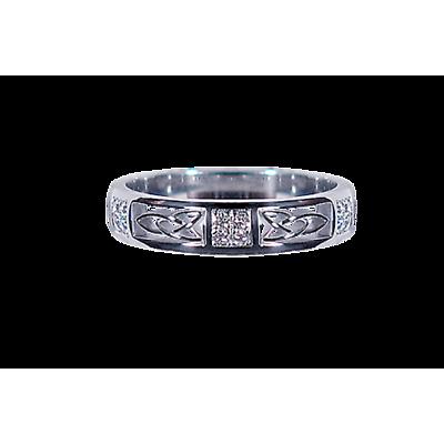 Irish Wedding Ring - Ladies White Gold with 0.10ct Diamond Squares Celtic Knot Ring