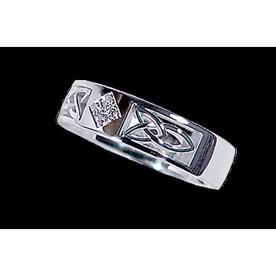 Irish Wedding Ring - Men's White Gold with 0.07ct Diamond Celtic Knot Ring