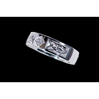 Irish Wedding Ring - Ladies White Gold with 0.05ct Diamond Celtic Knot Ring