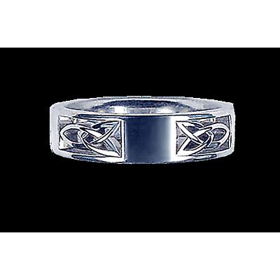 Irish Wedding Ring - Men's White Gold Plain Front  Knot Ring