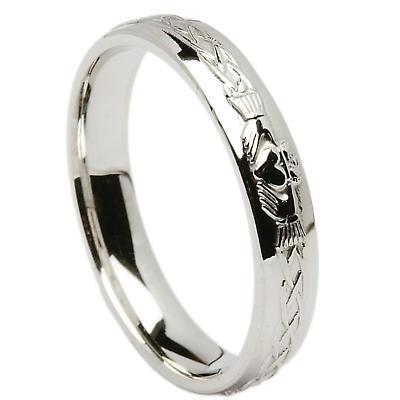 Irish Wedding Ring - Celtic Knot Claddagh Mens Wedding Band