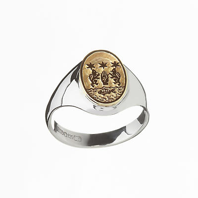 Irish Ring - Coat of Arms Sterling Silver and 10k Gold Ladies Oval Ring