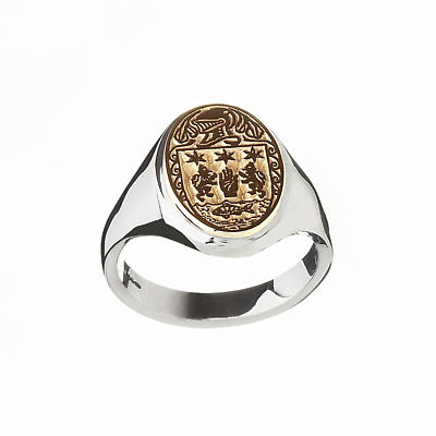 Irish Ring - Coat of Arms Sterling Silver and 10k Gold Ladies Heavy Solid Oval Heraldic Ring