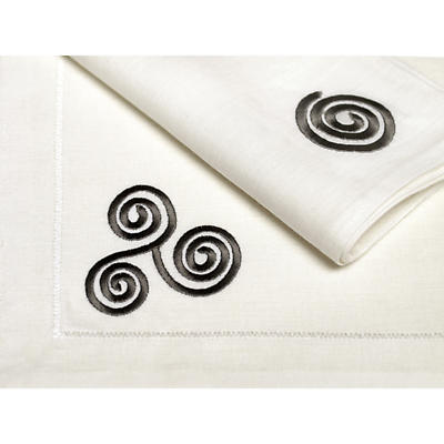 100% Irish Linen Embroidered Celtic Triskele Placemats Set of 4