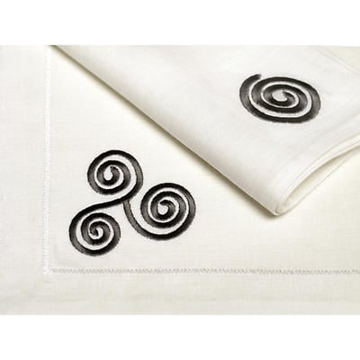 100% Irish Linen Embroidered Celtic Triskele Napkins Set of 4