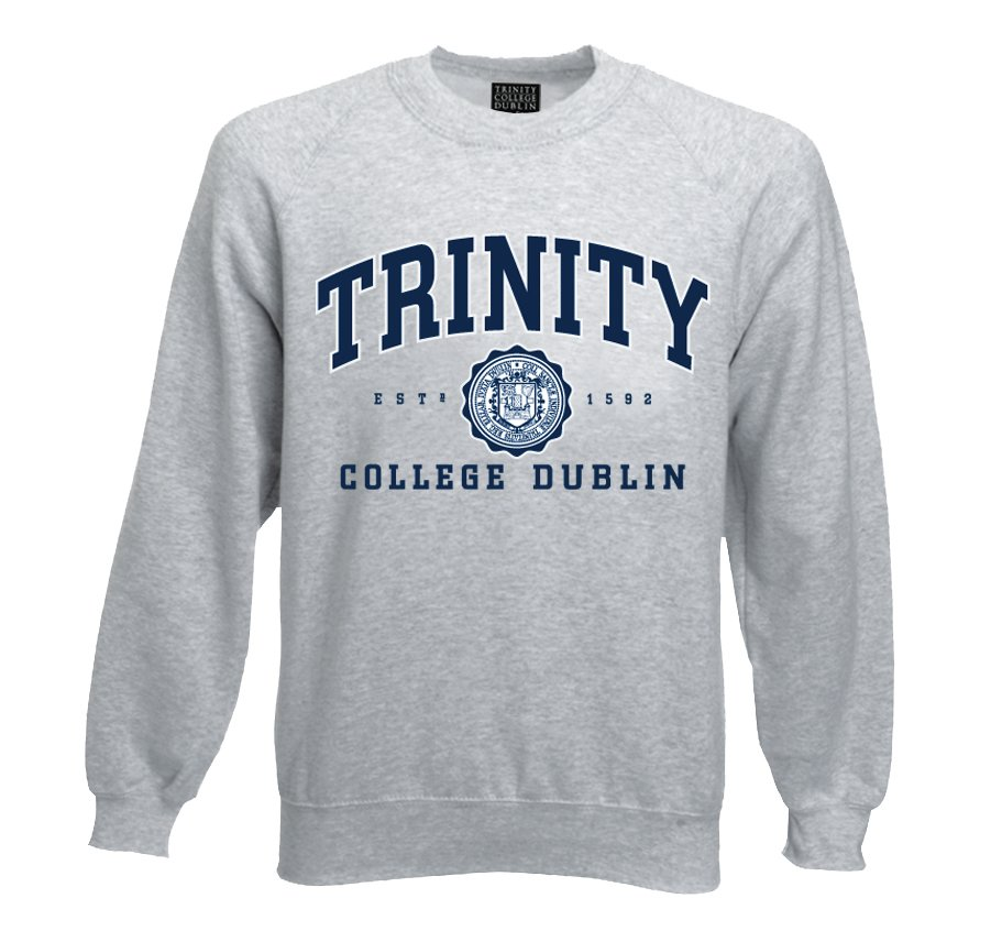 Irish Sweatshirt - Trinity College Crew Neck Sweatshirt - Grey