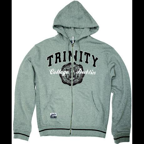 Irish Sweatshirt - Trinity Full Zip Hooded Sweatshirt - Grey