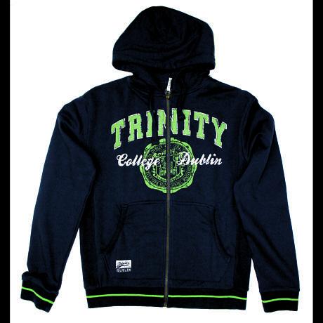 Irish Sweatshirt - Trinity Full Zip Hooded Sweatshirt - Navy