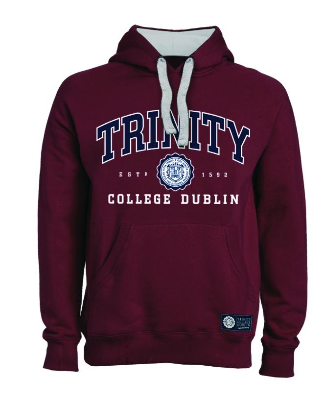 Irish Sweatshirt - Trinity Collegiate Seal Hooded Sweatshirt - Burgundy