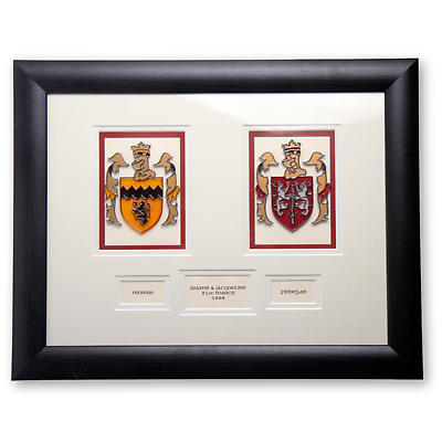 Personalized Double Family Crest Handpainted Glass Framed Print