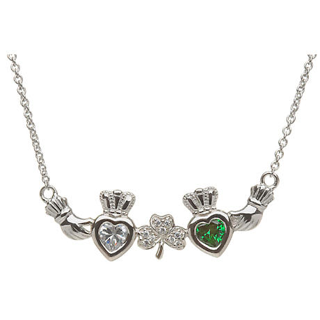 Sterling Silver Mother's Family Necklace - Shamrock