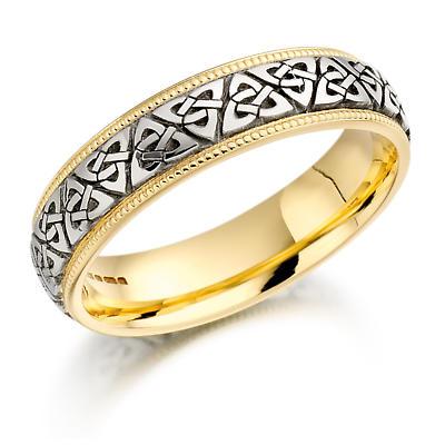 Trinity Knot Wedding Ring - Mens Two Tone Trinity Celtic Knot Beaded Irish Wedding Band