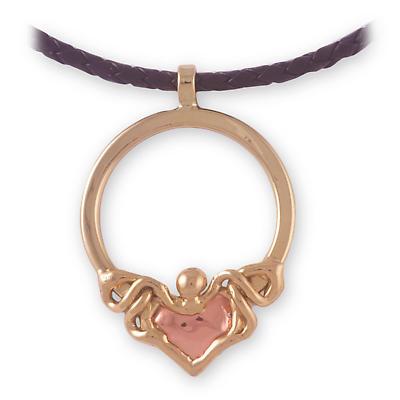 Grange Irish Jewelry - Two Tone Claddagh Pendant on Cord