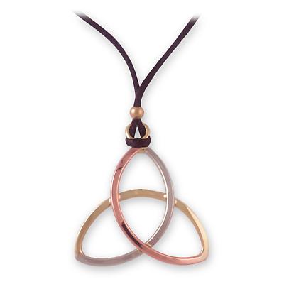 Grange Irish Jewelry - Three Tone Trinity Knot Pendant on Cord
