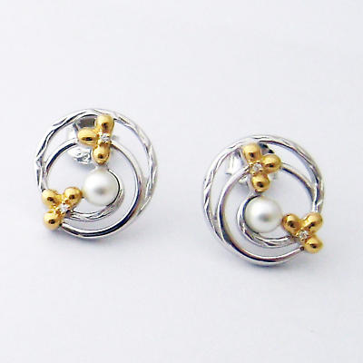 Jean Butler Jewelry - Sterling Silver Pearl Center Crystal Irish Earrings