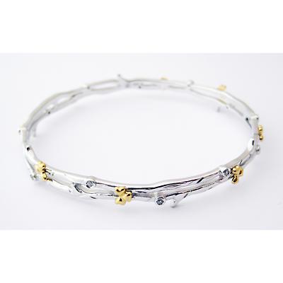 Jean Butler Jewelry Irish Bangle - Sterling Silver Shamrock Buds Irish Bracelet