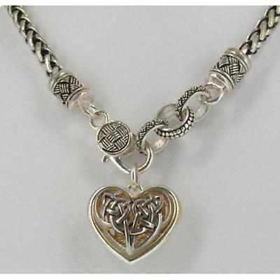 Celtic Necklace - Two Tone Celtic Heart Necklace