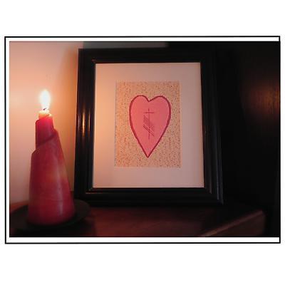 """Ogham """"Love"""" Heart Framed Print"""