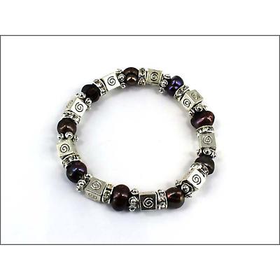 Celtic Bracelet - Celtic Spiral Box Charm Crystal and Black Pearl Stretch Bracelet