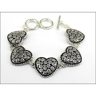 Celtic Bracelet - Celtic Spiral Heart Toggle Bracelet