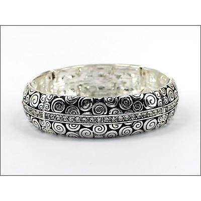 Celtic Bracelet - Stone Set Spiral Stretch Bangle