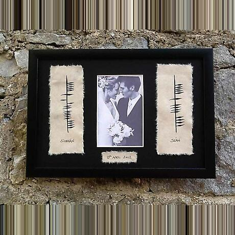 Personalized Hand Painted Ogham Wedding Framed Print with Names, Photo and Date