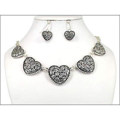 Celtic Jewelry Set - Celtic Spiral Heart Necklace and Earring Set
