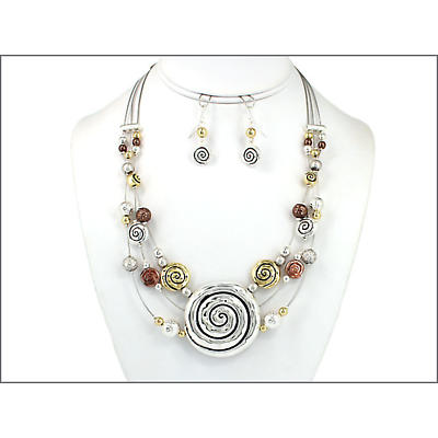Celtic Jewelry Set - Three Tone Celtic Spiral Necklace and Earring Set