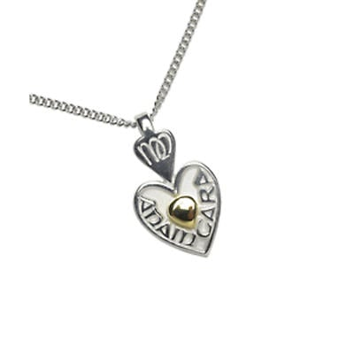 """Irish Necklace - Sterling Silver Mo Anam Cara """"My Soul Mate"""" Heart Pendant with Chain"""