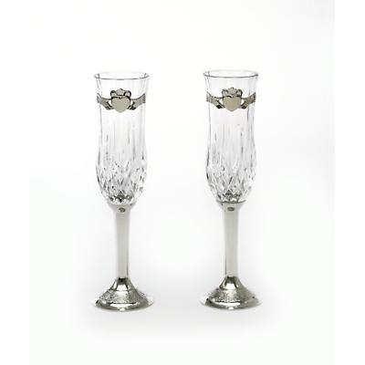 Irish Wedding Gift - Claddagh Wedding Flute Pewter (Pair)