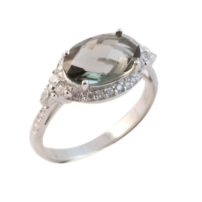 Irish Rings - Sterling Silver Grey Crystal Stone Vintage Ring