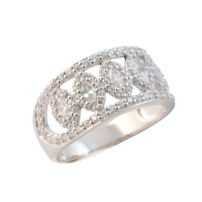 Irish Rings - Sterling Silver White Crystal Wide Stone Set Ring