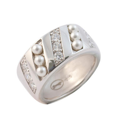 Irish Rings - Sterling Silver Pearls and Crystals Polished Ring