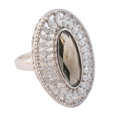 Irish Rings - Sterling Silver Grey Oval Crystal Vintage Ring