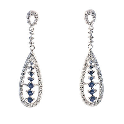 Sterling Silver Sapphire and White Crystals Earrings