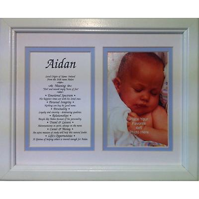 Personalized 8 x 10 First Name with Photo Matted & Framed Print - Blue