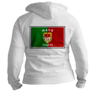 Irish Sweatshirt - Irish County Full Zip Hooded Sweatshirt Left Chest - White