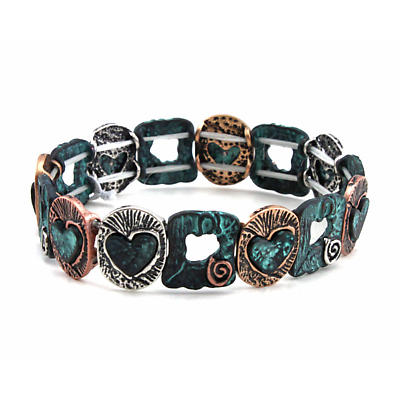 Irish Bracelet - Three Tone Celtic Heart Stretch Bracelet