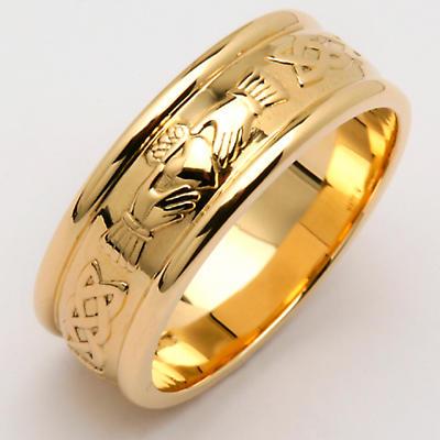 Irish Wedding Ring - Men's Wide Corrib Claddagh Wedding Band