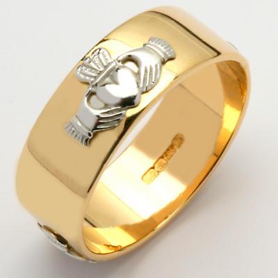 Irish Wedding Ring - Ladies Gold Two Tone Claddagh Wide Wedding Band
