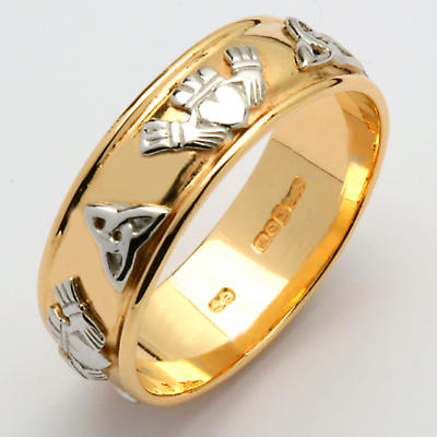 Irish Wedding Ring - Ladies Gold Two Tone Claddagh Trinity Knot Wide Wedding Band