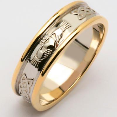 Irish Wedding Ring - Men's 14k Two Tone Yellow & White Gold Claddagh Wedding Band