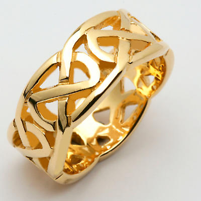 Irish Wedding Ring - Celtic Knot Wide Pierced Sheelin Mens Wedding Band