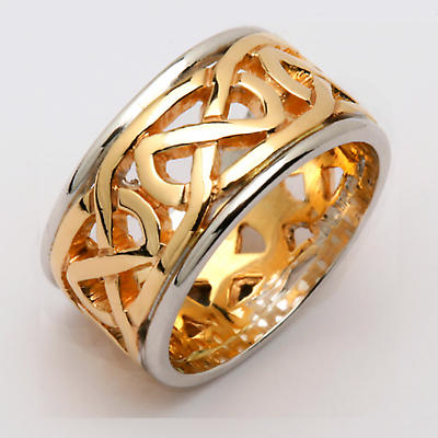 Irish Wedding Ring - Ladies Celtic Knot Wide Pierced Sheelin Wedding Band Yellow Gold with White Gold Rims