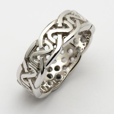 Irish Wedding Ring - Celtic Knot Pierced Sheelin Mens Wedding Band