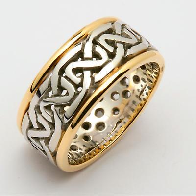 Irish Wedding Ring - Ladies Celtic Knot Pierced Sheelin Wedding Band with Yellow Gold Rims